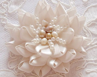 Handmade Ribbon Flower With Beads (2-3/4 inches) MY-677-04 Ready To ship