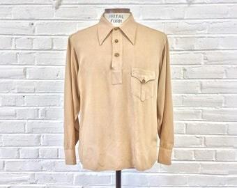 Vintage 1940s 1950s Men's Gabardine Pullover Tan Shirt. Marked Size L