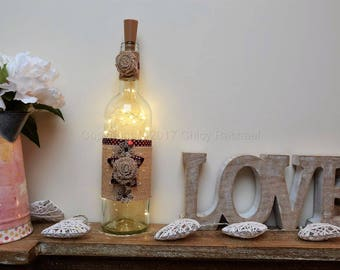 Hand Decorated Light Up Wine Bottle With LED Fairy Lights. Valentines Day. Anniversary. Mother's Day. Shabby Chic