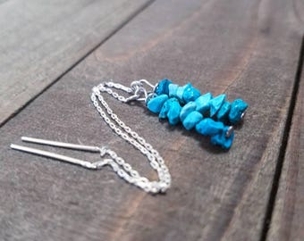 Silver threaders - Turquoise threaders - ear threads - silver threaders - turquoise ear threads - boho turquoise - turquoise earrings