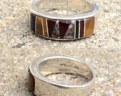 vintage Native American Zuni sterling silver multi-stone inlay cigar band southwestern ring size 8.25