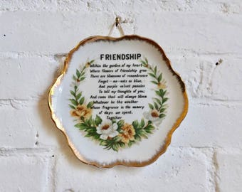Friendship vintage collectible plate wall hanger home decor floral poem