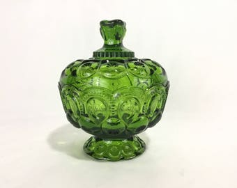 LE Smith Emerald Green Moon and Stars Covered Candy Dish * Footed Glass Compote