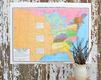 Vintage Large US School Map - United States Nystrom History Poster Classroom