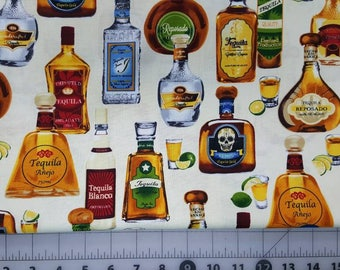 100% cotton Quilting fabric by the 1/2 yard of tequila bottles  Just wounderful  fun fabric.  Camp shirt?  Man cave?  Liquor whiskey beer