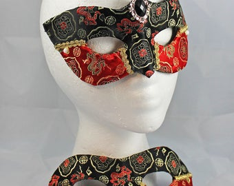 Black Red Brocade Couples Masks, Couples Matching Red and Black Satin Brocade and Leather Masquerade Masks