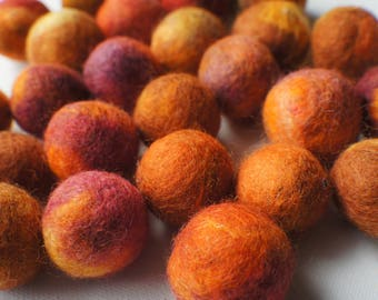 Felt Beads, Extra large Beads, Orange shades beadsd Beads, Felt Balls Felt Beads Felted Balls Wool Beads, Roun