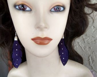 Native American Purple Deerskin Leather Feather Earrings With Silver Beads