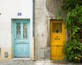 Paris Photography Print - Doors on Rue des Thermopyles - Colorful Paris Doors - Paris Wall Art - Travel Photography Print