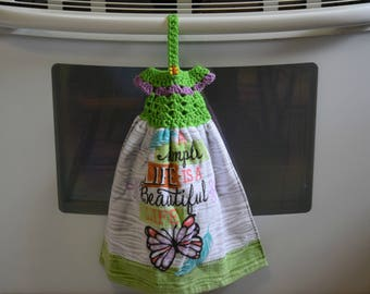Hanging Towel - Kitchen Towel - Crochet Towel Topper - Towel Topper -  - Housewarming Gift