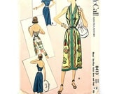 1951 McCall pattern 8413 • misses' one piece halter dress and cape • size 14 bust 32 • vintage fashion