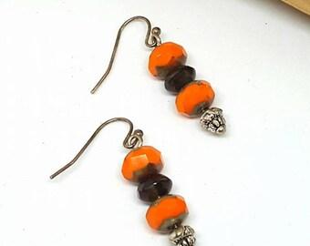 Orange and Black Earrings - Orange Earrings - Black Earrings - Gifts for Her - Discount Jewelry