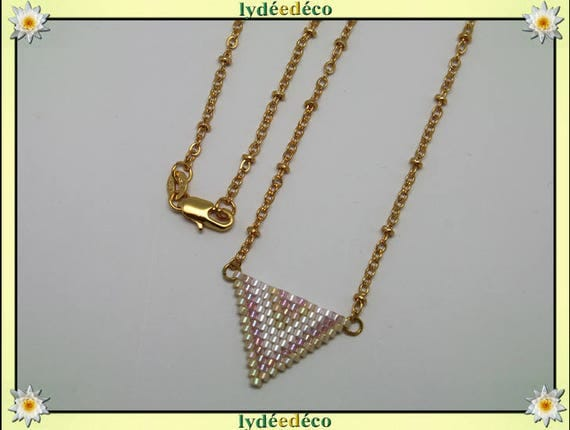 Necklace plated 18 k pink pastel white beige and gold woven triangle chevron chain ball