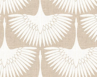 Designer Pillow Cover Flock of Ivory Birds  on a Linen Colored Background