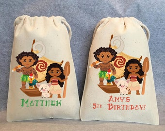 "6- Moana birthday, Moana party, Moana party supplies, Moana, Maui, Moana party supplies, Moana party favor bags bags,5""x8"""