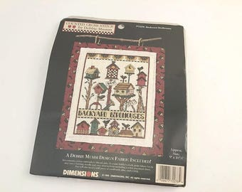 Debbie Mumm, Mumm Cross Stitch, Mumm Birdhouse, Cross Stitch Kit, Bird House Pattern, Birdhouse Pattern, Backyard Birdhouses, Mumm Fabric
