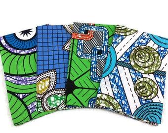 African Wax Print Fabric--FAT QUARTER BUNDLE--Green & Blue Assortment--Assorted Color/Assorted Patterns Prints--4-Pack Fat Quarter Bundle
