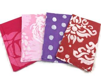 African Batik Print Fabric--FAT QUARTER BUNDLE--Hand Dyed African Fabric--Assorted Colors--Assorted Patterns--4-Pack Fat Quarter Bundle