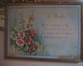 To Mother Framed Poem Vintage Hollyhocks