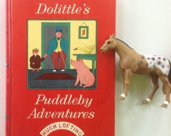 Doctor Dolittle's Puddleby Adventures, Hugh Lofting, Great Condition, Bright Colors, Cover, Read Aloud, Nursery Decor, Crafting Collage