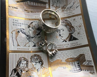 Vintage Jewelry Tray, Hadassah, Glass Tray, MCM, Black Gold, Knesset, Building, Henrietta Szold, Brandeis Boys, Seligsburg School, Gift