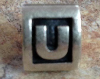 ON SALE Pandora Alphabet Initial Charm Letter U Marked Ale S925 Authentic Good Look!