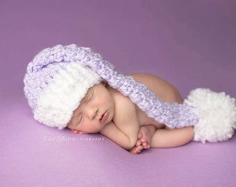 Baby Girl CHRISTMAS Hat  Crochet Newborn Baby Boy Christmas Elf Hat Santa Hat Diaper Cover Stocking Cap pink red purple blue outfit