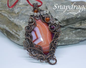 Agate and Carnelian statement wire wrapped pendant