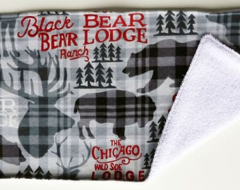 Rustic Burp Rag,  Wilderness Burp Rag, Bear Elk Buffalo, Black and Gray, Gray Plaid, Burp Rag, Baby Item, Baby Accessory