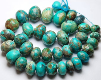 16 Inches Strand,720 Carats,Natural Arizona TURQUOISE Smooth Rondelles Size 11-22mm