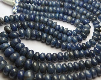 16 Inch Strand,Natural Madagascar Blue SAPPHIRE Smooth Rondelles Shape,7-12mm