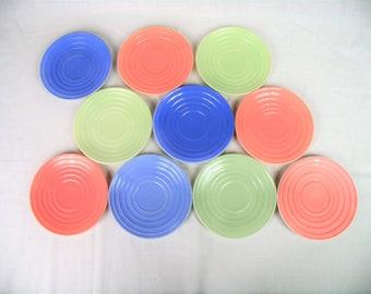 10 Hazel Atlas Moderntone Platonite plates Saucers vintage dinnerware glass plate lot