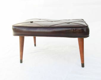 Vinyl Covered Hassock - Rectangular - Cordovan Color - Retro Footstool - Buttoned With Piping - Useful and Usable - Rectangular Stool