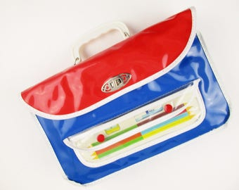 Soft Vinyl Pencil Case/Box - White Lucite Handle - New/Old Stock Vinyl Bag - Red and Blue w/White Binding - Clear Front Pocket - Red Snaps