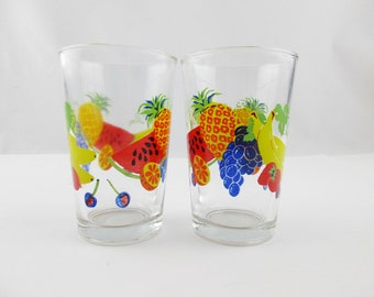 Two 'Fruity' Drinking Glasses - Multi-Color Glasses - 6 Oz. Drinking Glasses - Mint Condition - by 'Firna' Indonesia - 2 Small Juice Glasses