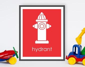 Fireman Decor, Red Fire Hydrant Firefighter Nursery Boys Room Wall Art, Modern Nursery Decor, Fireman Room Decor, Dog Art, Kids Playroom Art
