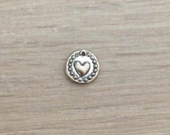 Sterling Silver Heart Disc Charm, Dainty Charms, Coin, 925 Silver Charms, 1 pc