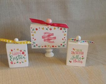 Wood Blocks, set of 3, home decor, Easter Fun, Hippity Hoppity Easter's on it's way, Jelly Beans, Happy Easter, ready to ship