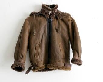 Vintage Kids Bomber Jacket Brown Leather Shearling Sheepskin Aviator Style Medium 6 - 8