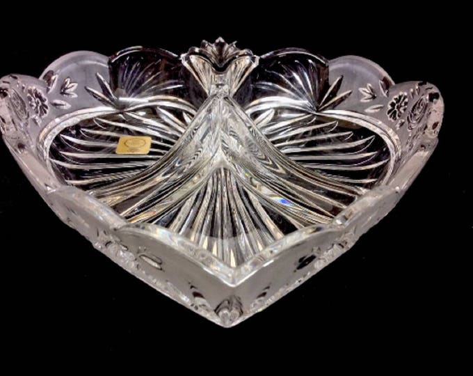 Bleikristall Candy Dish Cut Glass, Crystal Heart Shaped Divided Dish, Wedding Gift