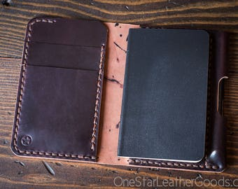 "Small notebook wallet and pen ""Park Sloper Junior"" Horween shell cordovan leather - burgundy"