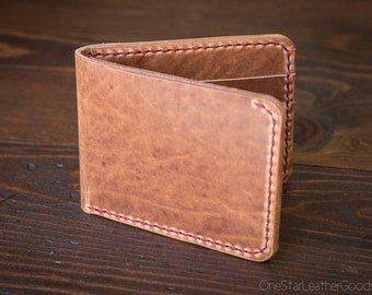 7 Pocket billfold wallet - Horween natural dublin horsehide / red stitching