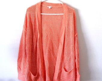 Breezy Peach Pink Gap Cardigan, Mesh Knit