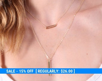 Rectangle gold necklace, Gold necklace, small gold necklace, tiny gold necklace, gold filled necklace, minimalist jewelry 20097