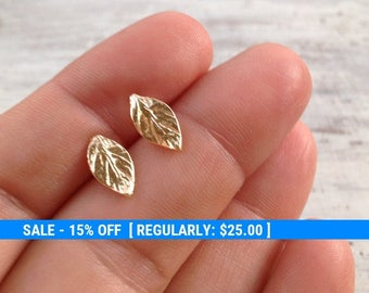 Gold earrings, stud earrings, leaf earrings, gold filled earrings, gold stud earrings, simple stud earrings -20063