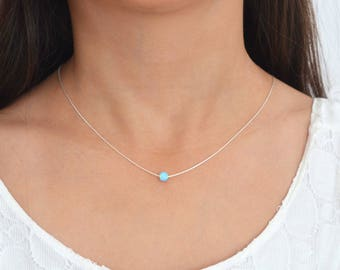 Blue Opal necklace,Opal Jewelry,October birthstone,Sterling Silver,Opal Necklace Silver,Dainty Opal Necklace,Bridesmaids Necklace.Minimalist