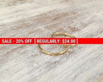 SALE 20% OFF Stacking ring, gold ring, set of 2 stacking gold ring, knuckle rings, thin gold ring, hammered ring, tiny ring, gold knuckle