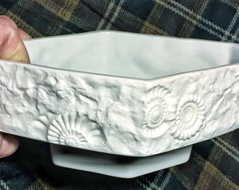 1960's german kaiser white bisque porcelain fossil relief footed bowl vase