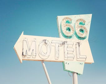 Route 66, Neon Sign, Motel 66, California Photography, Needles, Havasu, Mojave Desert, Travel Photography, Art, Print, Large Wall