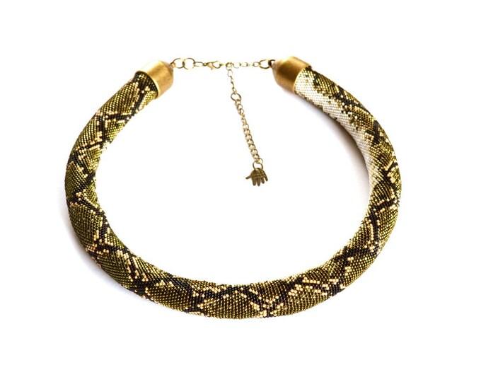 Made to order, python necklace, snake necklace, custom necklace, beaded necklace, skin snake necklace, statement necklace, choose color